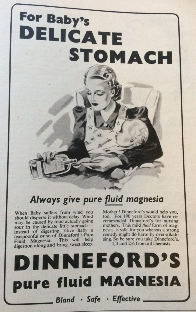 "Vintage 1930s magazine advert for Dinneford's pure fluid magnesia headlined ""For baby's delicate stomach always give pure fluid magnesia""."