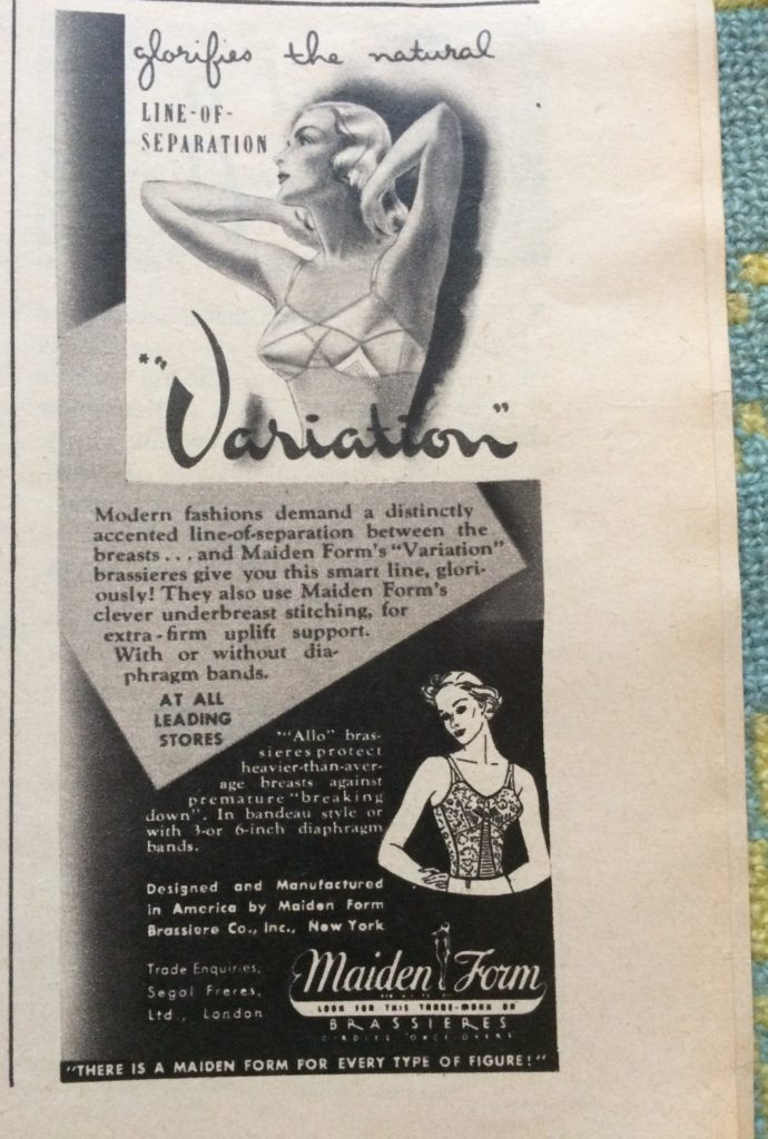 "1930s vintage magazine advert for Maiden Form Variation brassieres headlined ""Glorifies the natural line-of-separation""."