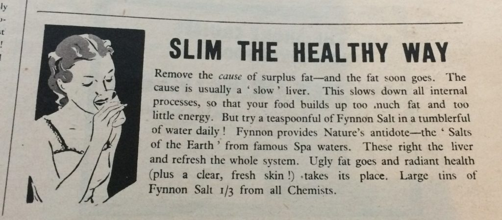 "Vintage 1930s magazine advert for Fynnon Salt headlined ""Slim the healthy Way""."