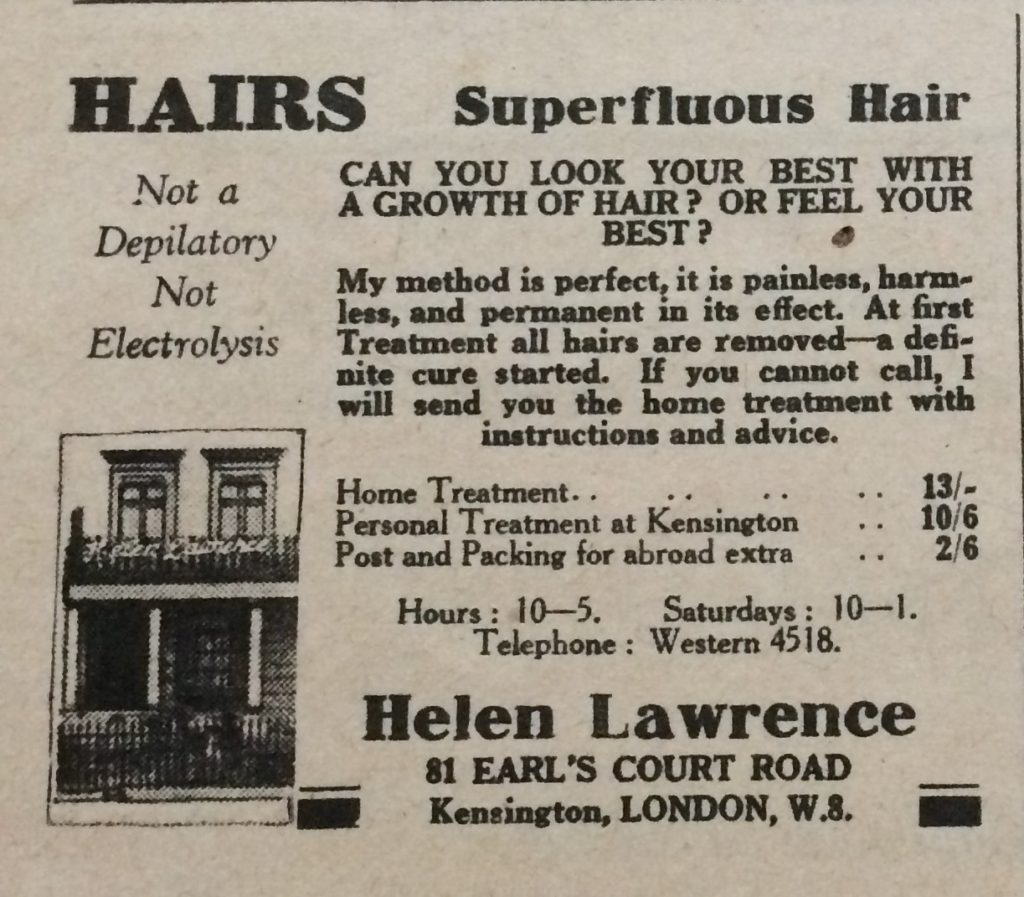 "Vintage 1930s magazine advert for Helen Lawrence Hair removal headlined ""Can you look your best with a growth of hair? Or Feel your best?""."