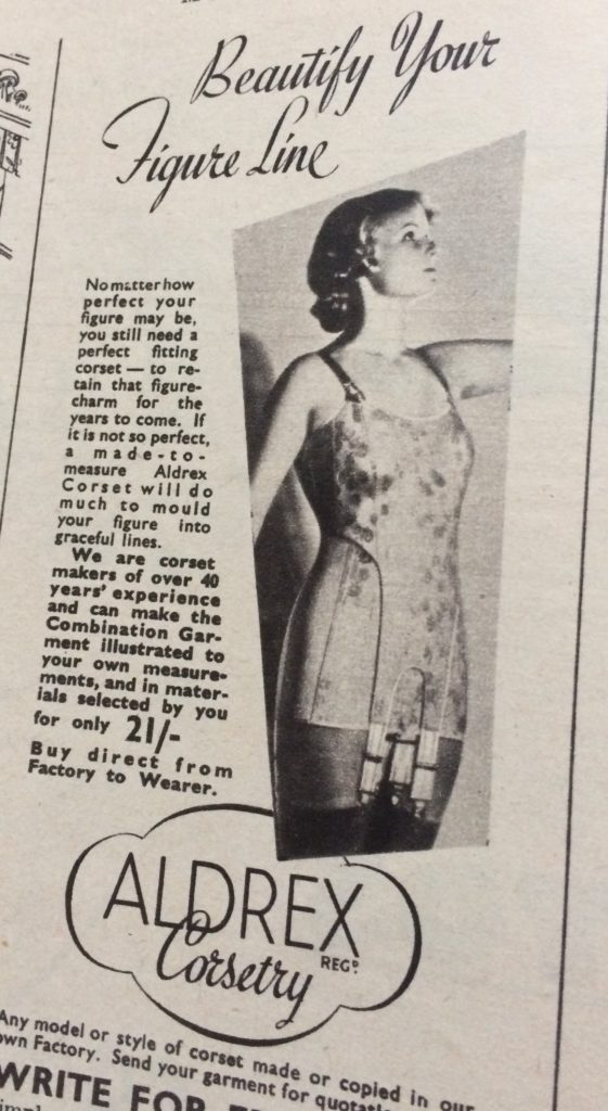 "Vintage 1930s magazine advert for Aldrex corstry that says ""No matter how perfect your figure may be you still need a perfect fitting corset to retain that figure charm for the years to come""."