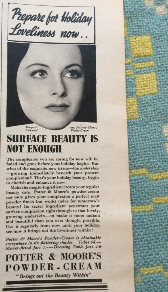 "Vintage 1930s magazine advert for Potter and Moore's powder-cream headlined ""Prepare for holiday loveliness now... Surface beauty is not enough""."