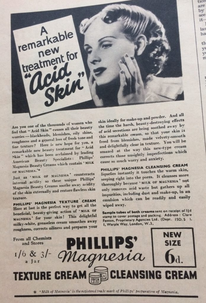 "Vintage 1930s magazine advert for Phillips' magnesia texture cream and cleansing cream headlined ""A remarkable new treatment for ""acid skin""""."