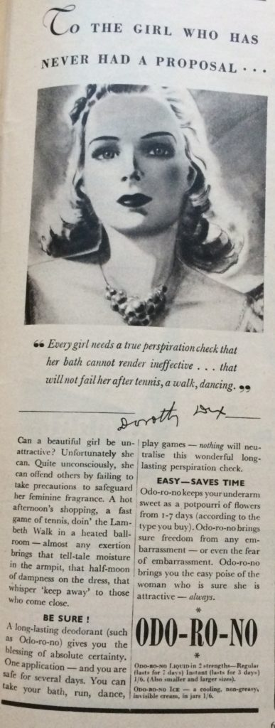 "Vintage Advert for Odo-Ro-No Deodorant headlined ""To the girl who has never had a proposal""."