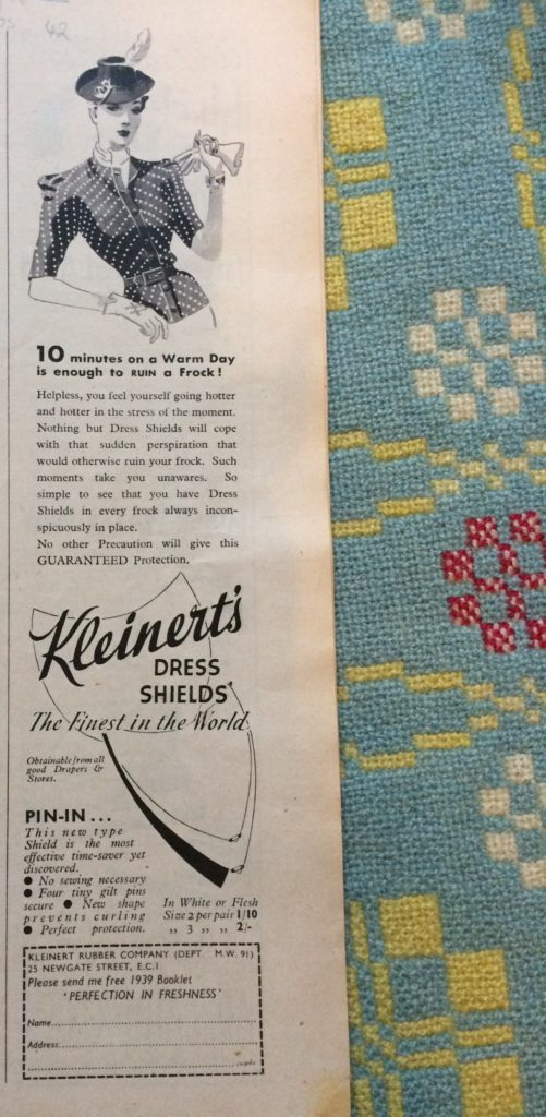 "Vintage 1930s magazine advert for Kleinert's Dress Shields headlined ""10 minutes on a warm day is enough to ruin a frock""."