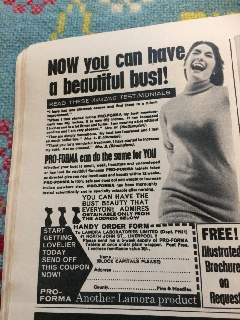 "Vintage 1960s magazine advert for Pro Forma tablets by Lamora Laboratories headlined ""Now YOU can have a beautiful bust""."