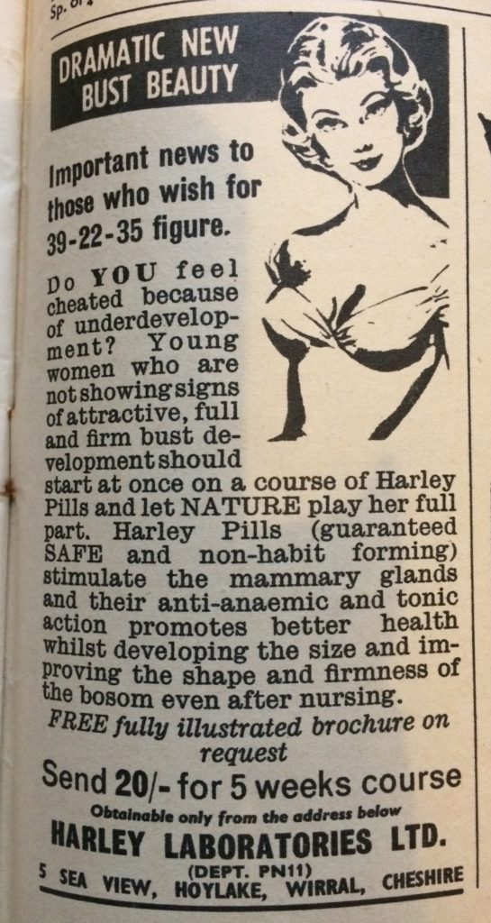"Vintage 1960s magazine advert for Harley Pills by Harley Laboratories headlined ""Dramatic new bust beauty. Important news to those who wish for 39-33-35 figure""."