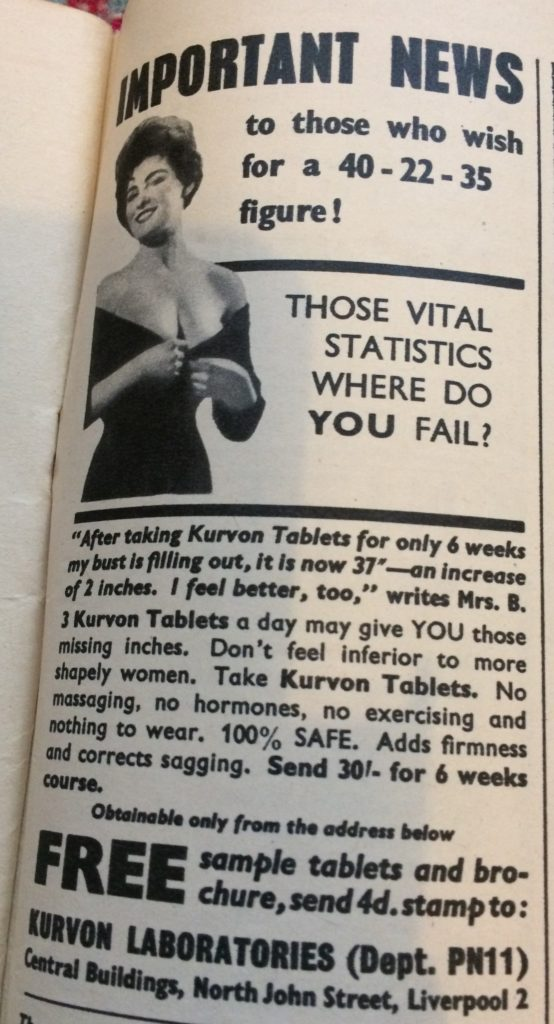 "Vintage 1960s magazine advert for Kurvon Tablets by Kurvon Laboratories headlined ""Important news to those who wish for a 40-22-35 figure. Those vital statistics where do you fail?"""