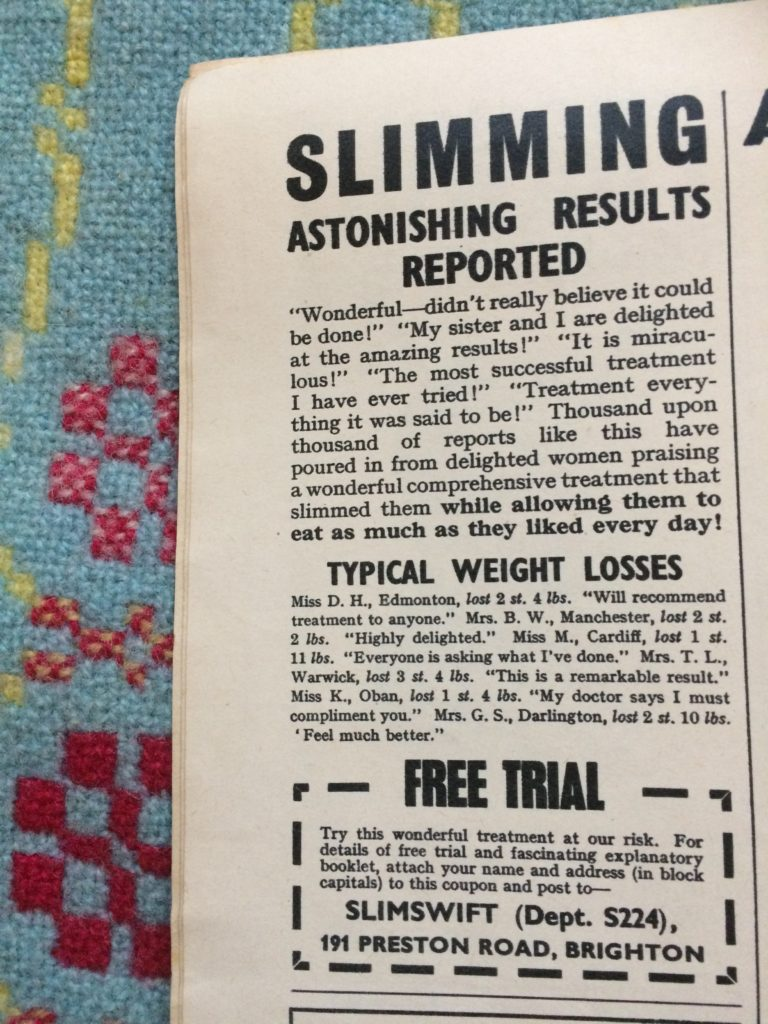 "Vintage magazine advert 1960s for Slimswift treatment headlined ""Slimming astonishing results reported""."