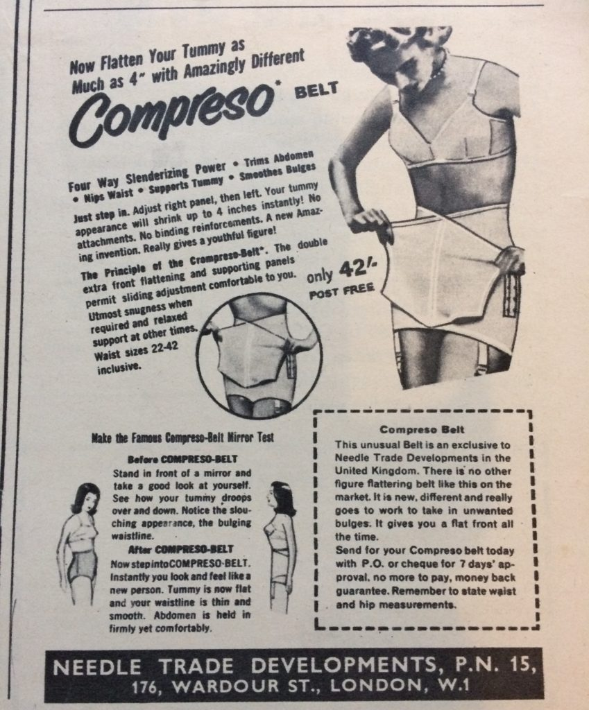 "Vintage magazine advert 1960s for Compresso Belt headlined ""Now flatten your tummy as much as 4 inches with amazingly different Compresso belt""."