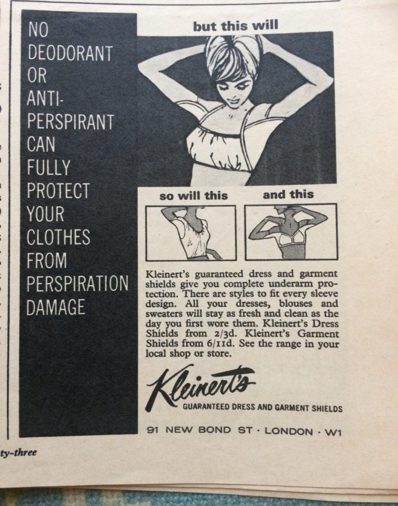 "1960s vintage magazine advert for Kleinert's dress shields headlined ""No deodorant or anti-perspirant can fully protect your clothes from perspiration damage""."