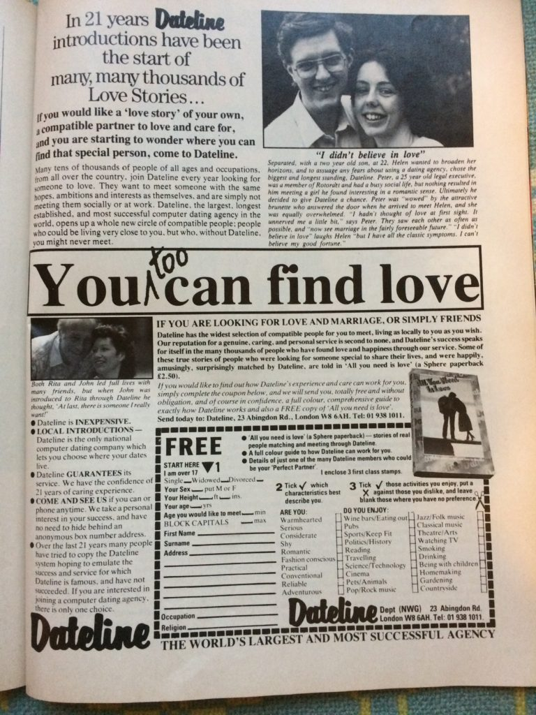 "Vintage 1980s magazine advert for Dateline Online dating service headlined ""You too can find love""."
