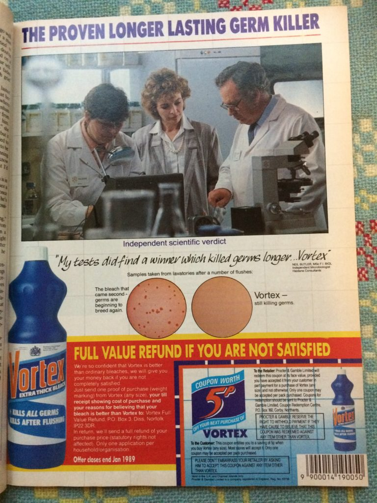 "Vintage 1980s magazine advert for Vortex Cleaner headlined ""The proven longer lasting germ killer""."