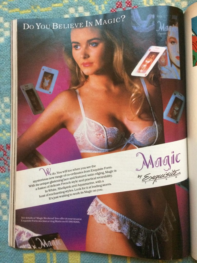 "Vintage 1980s magazine advert for Magic Lingerie headlined ""Do you believe in magic?"""