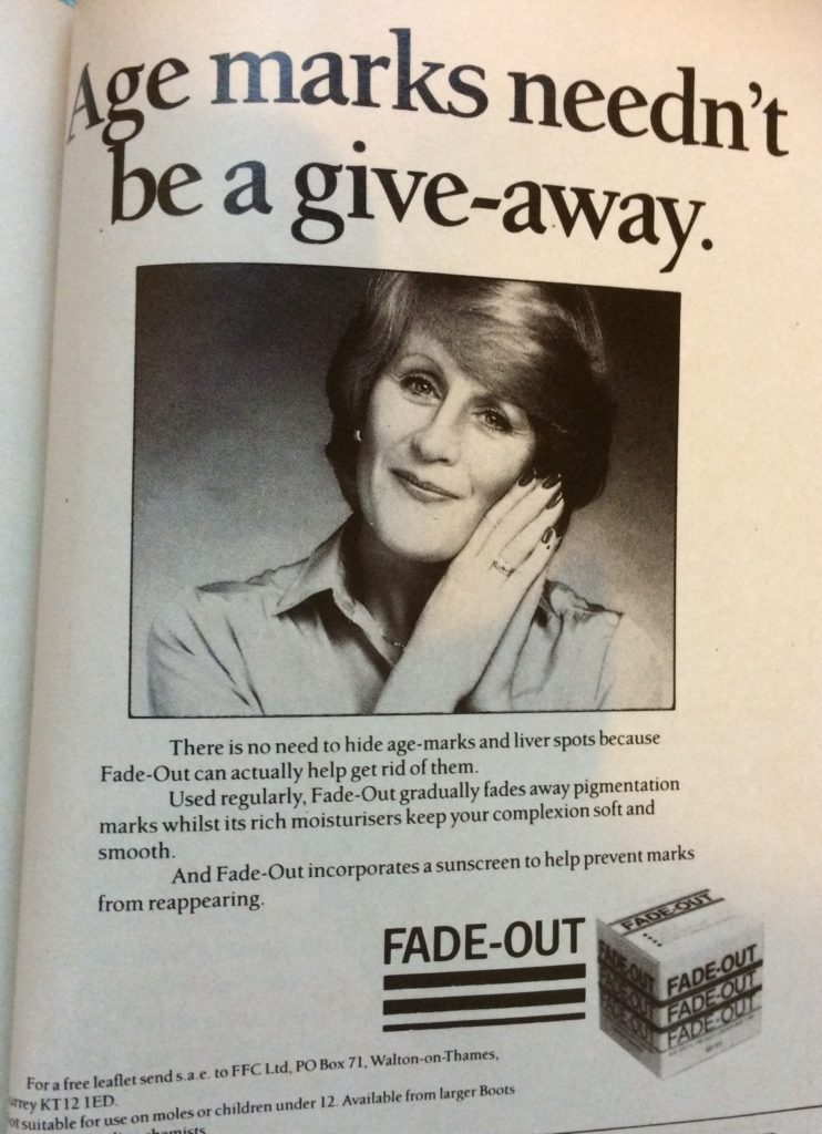 "Vintage 1980s advert for Fade-Out headlined ""Age marks needn't be a give-away""."