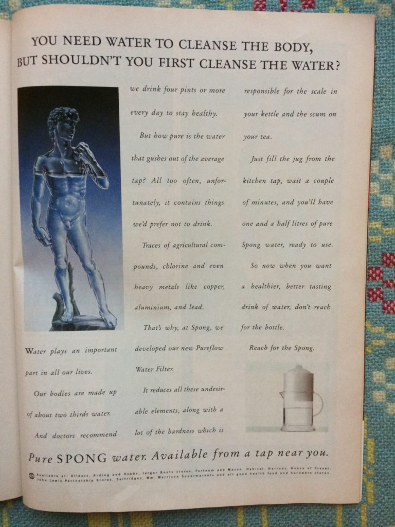"Vintage 1980s advert for Spong water filters headlined ""You need water to cleanse the body, but shouldn't you first cleanse the water?"""