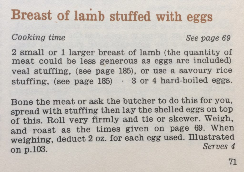"Photograph of vintage recipe for breast of lamb stuffed with eggs. Text says ""2 small or 1 larger breast of lamb, veal stuffing, 3 or 4 hard-boiled eggs. Bone the meat or ask the butcher to do this for you. Spread with stuffing then lay the shelled eggs on top of this. Roll very firmly and tie or skewer. Weigh, and roast as the times given on page 69. When weighing deduct 2oz for each egg used."