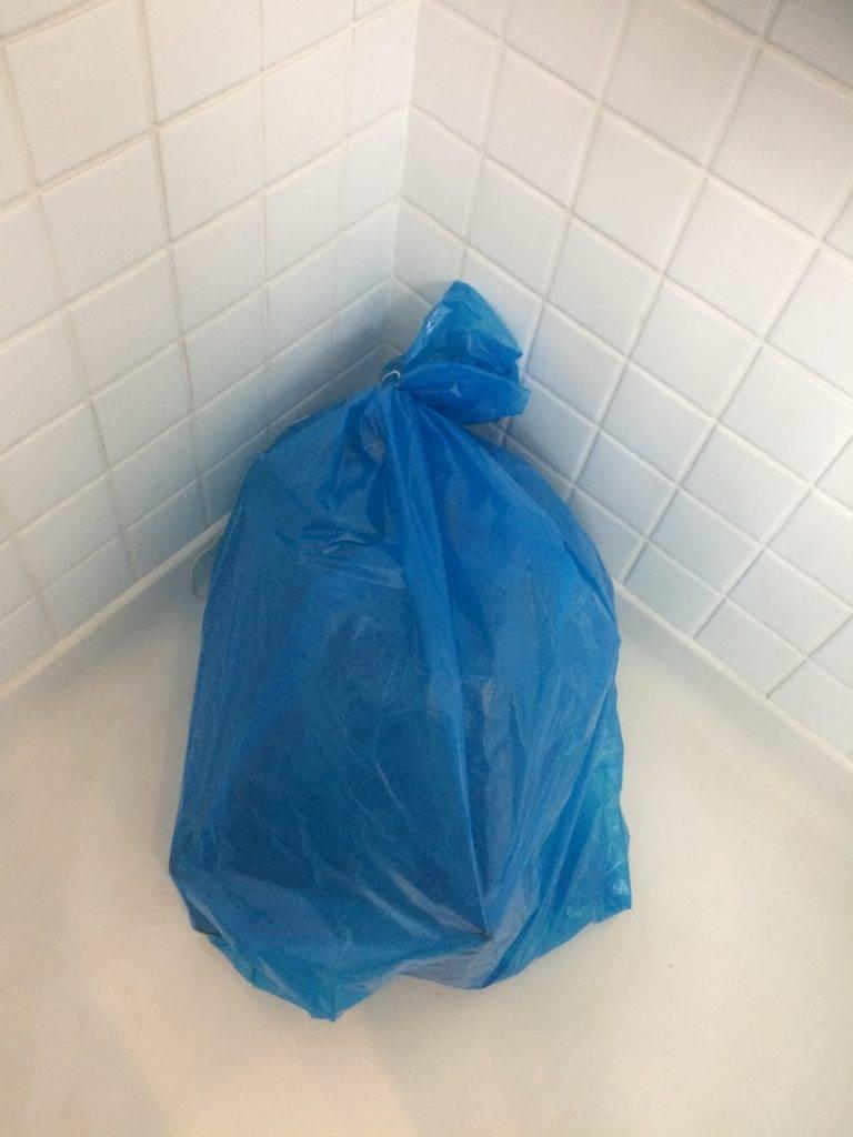 Bin bag in shower