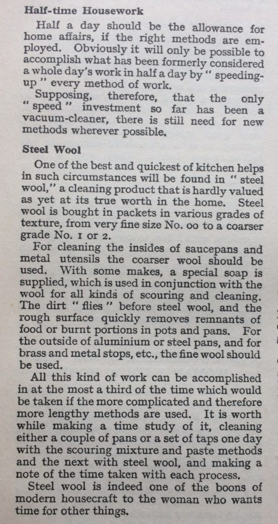 Excerpt from vintage book extolling the virtues of steel wool.