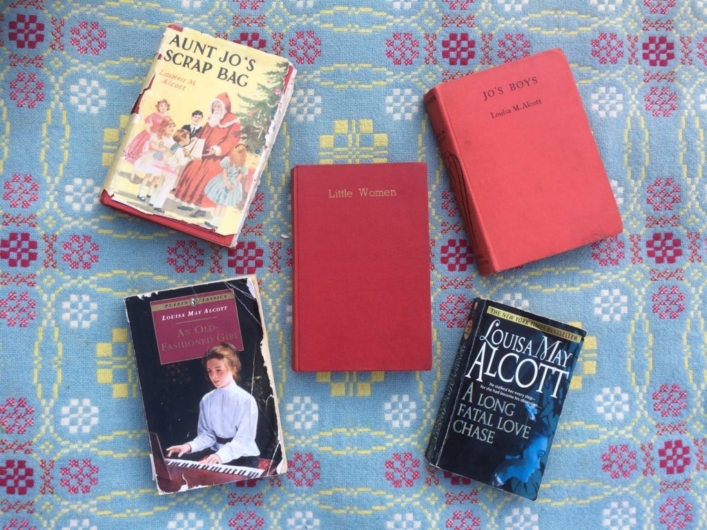 Five Louisa May Alcott Books Little Women, Jo's Boys, Aunt Jo's Scrap Bag, A long fatal love chase, and An Old Fashioned Girl.