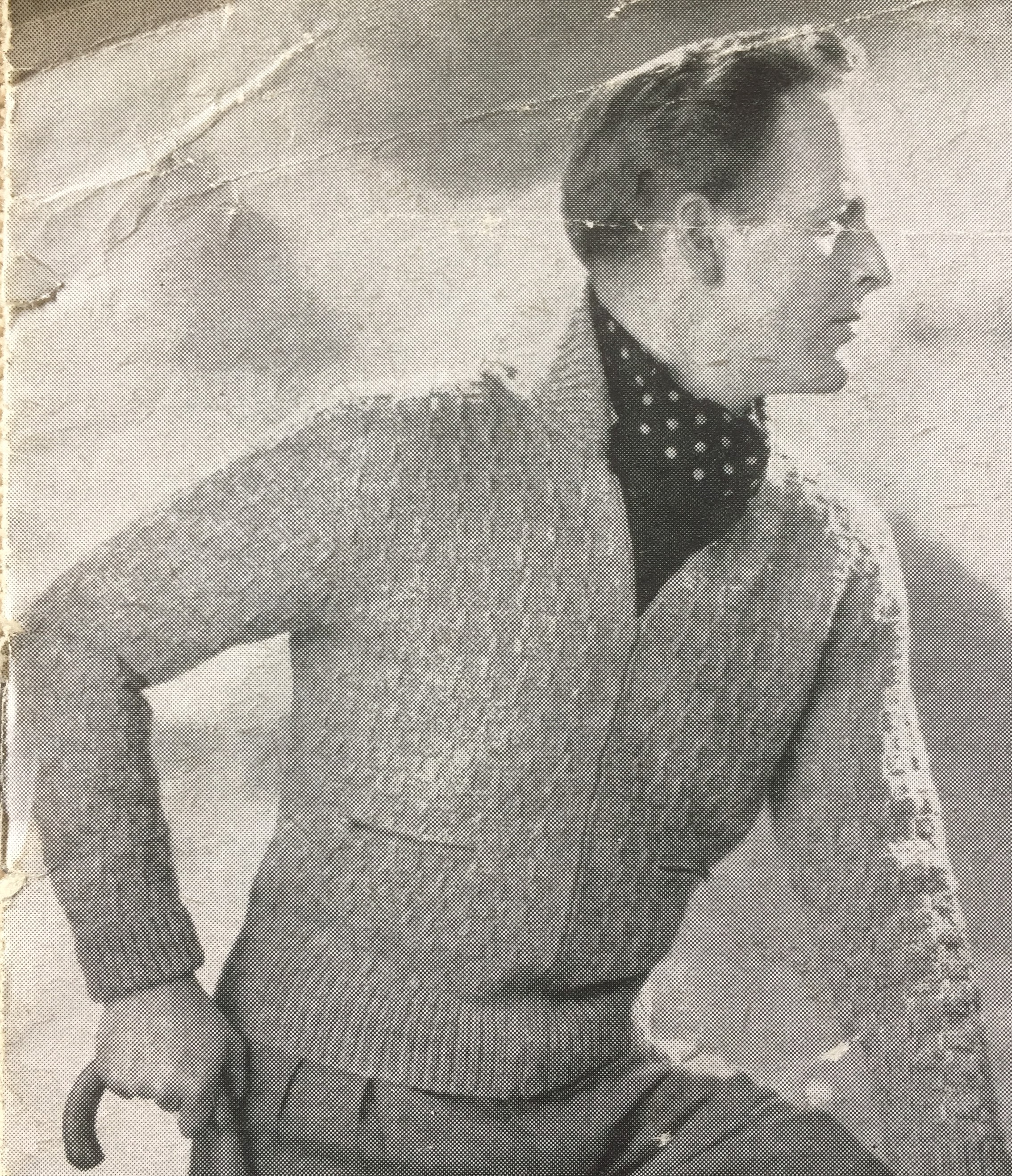 Vintage photo of male knitwear model side profile