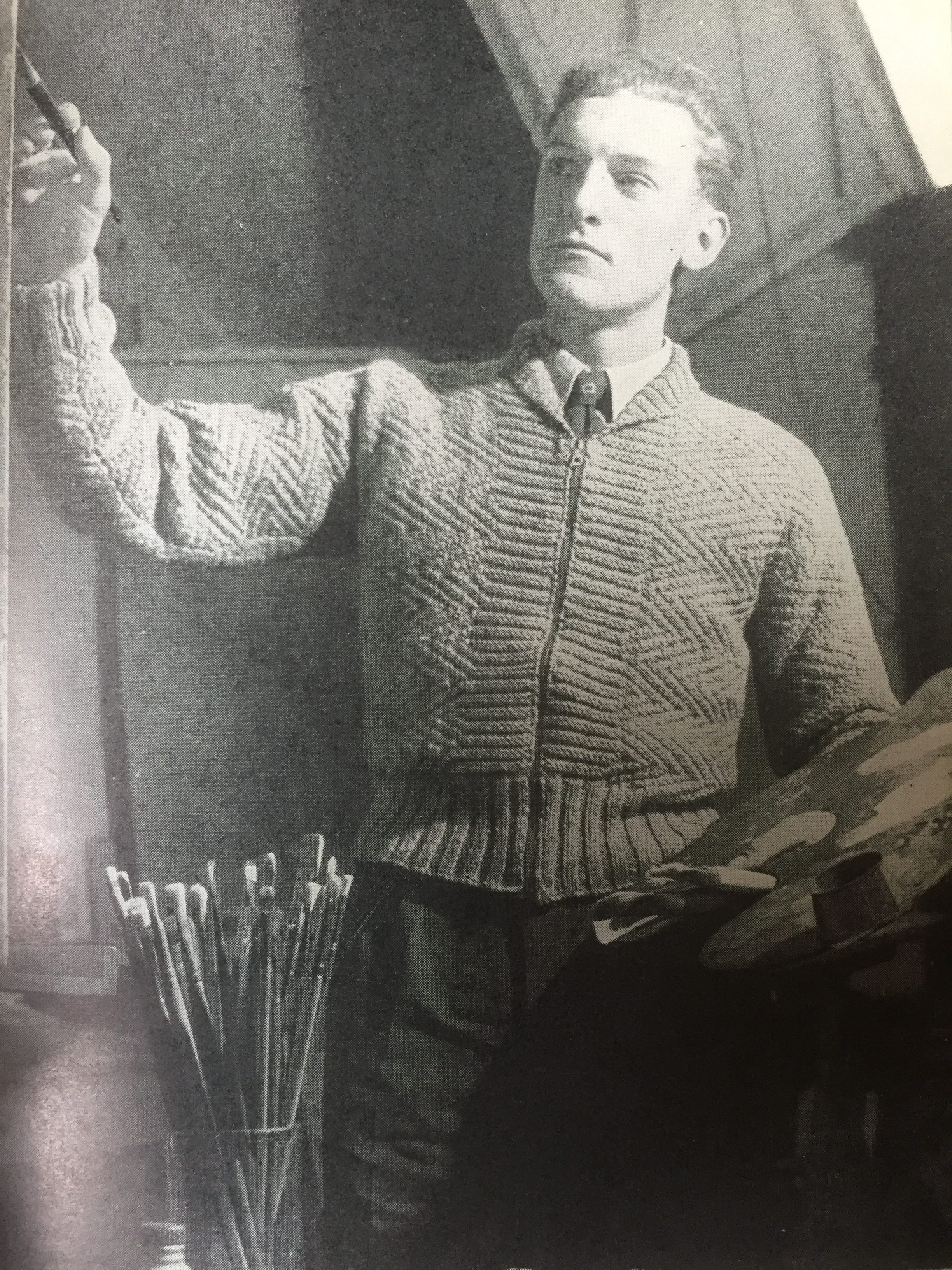vintage photo of male knitwear model painting